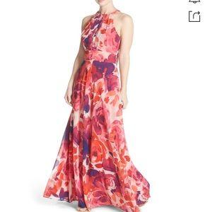 ELIZA J Floral Print Halter Maxi Dress